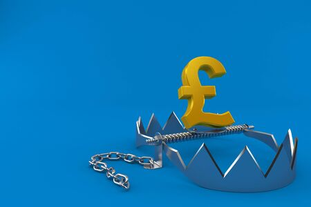 Pound currency with bear trap isolated on blue background. 3d illustration