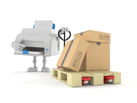 Printer character with hand pallet truck with cardboard boxes isolated on white background. 3d illustration Stok Fotoğraf