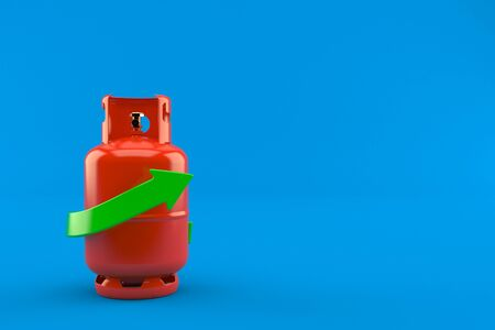 Propane bottle with green arrow isolated on blue background. 3d illustration Zdjęcie Seryjne