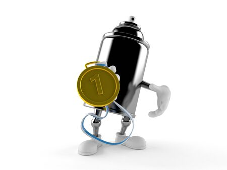 Spray can character with golden medal isolated on white background. 3d illustration