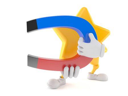 Star character holding horseshoe magnet isolated on white background. 3d illustration Stok Fotoğraf