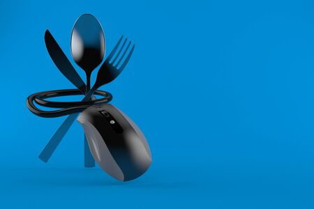 Cutlery with computer mouse isolated on blue background. 3d illustration 写真素材 - 137849798