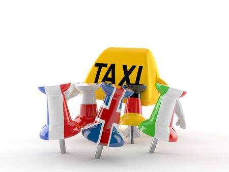 Taxi character with thumbtacks in flags isolated on white background. 3d illustration Stok Fotoğraf