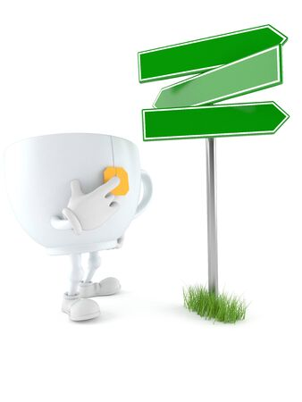 Tea cup character with blank signpost isolated on white background. 3d illustration