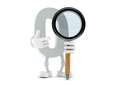 Zero character with magnifying glass isolated on white background. 3d illustration