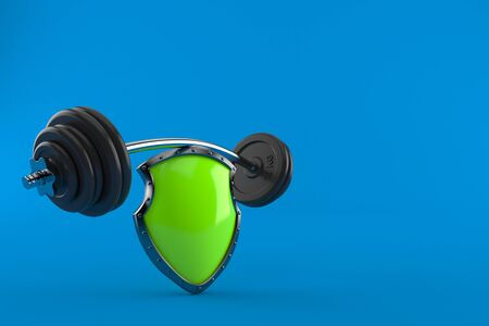 Protective shield with barbell isolated on blue background. 3d illustration