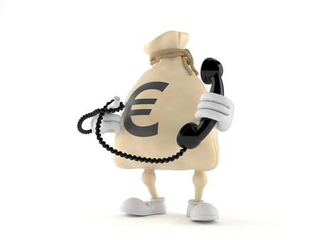 Euro money bag character holding a telephone handset isolated on white background. 3d illustration
