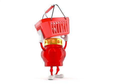 Grave light character holding shopping basket isolated on white background. 3d illustration Reklamní fotografie