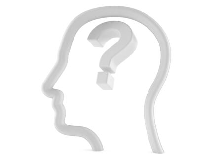 Question mark inside head profile isolated on white background. 3d illustration Reklamní fotografie