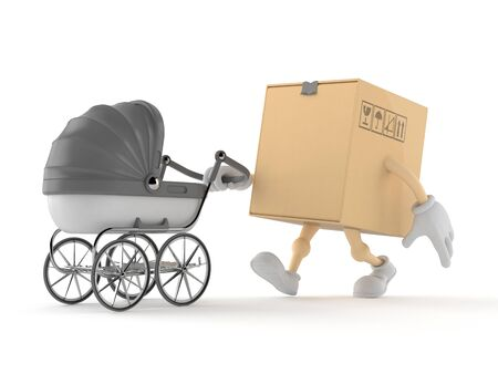 Package character with baby stroller isolated on white background. 3d illustration Reklamní fotografie