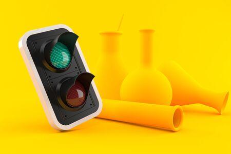Chemistry background with green light in orange color. 3d illustration Banco de Imagens