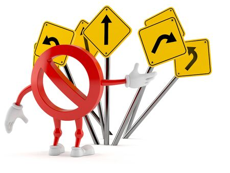 Forbidden character confused with road signs isolated on white background. 3d illustration Stockfoto
