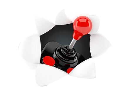 Joystick inside hole from torn paper. 3d illustration Stockfoto