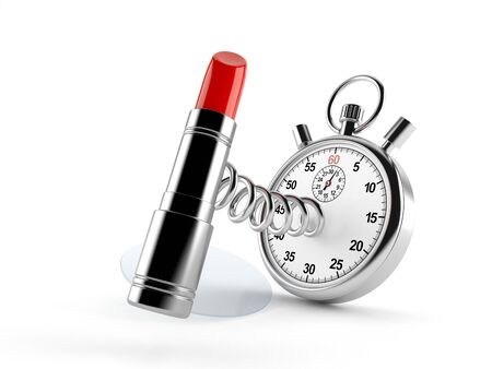 Lipstick with stopwatch isolated on white background. 3d illustration