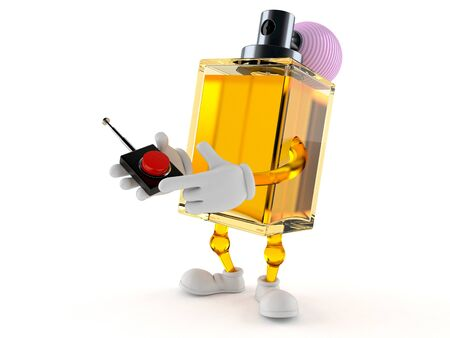 Perfume character pushing button on white background. 3d illustration 스톡 콘텐츠