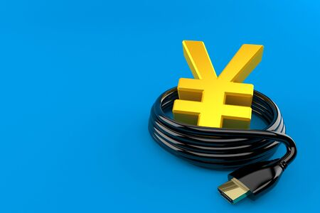 Yen currency with hdmi cable isolated on blue background. 3d illustration
