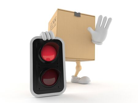 Package character with red light isolated on white background. 3d illustration