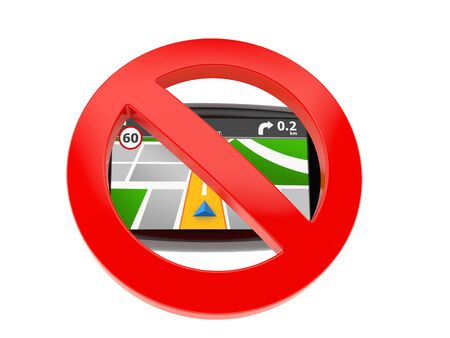 GPS navigation with forbidden sign isolated on white background. 3d illustration