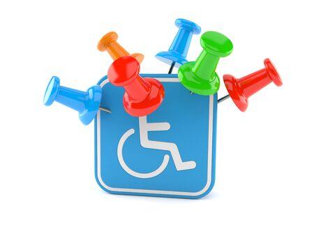 Handicap symbol with thumbtacks isolated on white background. 3d illustration