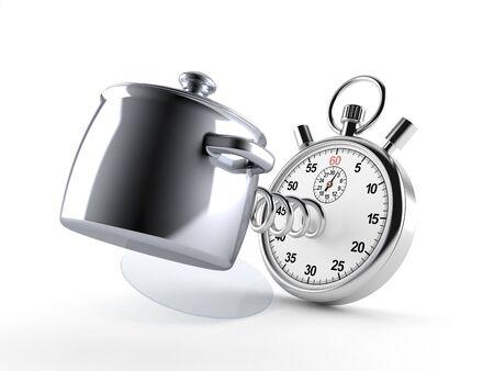 Keuken pot met stopwatch geïsoleerd op een witte achtergrond. 3d illustratie