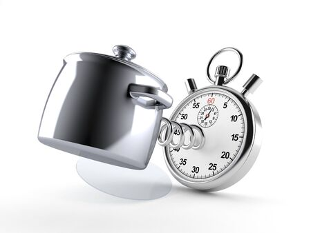 Kitchen pot with stopwatch isolated on white background. 3d illustration