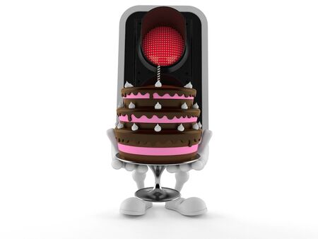 Red traffic light character holding cake isolated on white background. 3d illustration Stockfoto