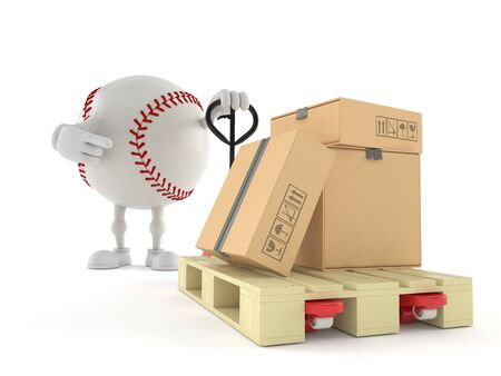 Baseball character with hand pallet truck with cardboard boxes isolated on white background. 3d illustration 写真素材