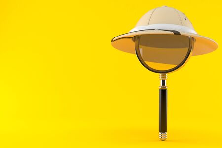 Pith helmet with magnifying glass isolated on orange background. 3d illustration