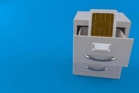SIM card inside archive isolated on blue background. 3d illustration Banco de Imagens