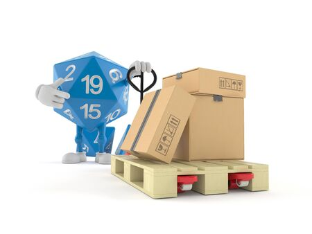 RPG dice character with hand pallet truck with cardboard boxes isolated on white background. 3d illustration 写真素材