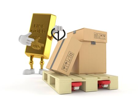 Gold ingot character with hand pallet truck with cardboard boxes isolated on white background. 3d illustration