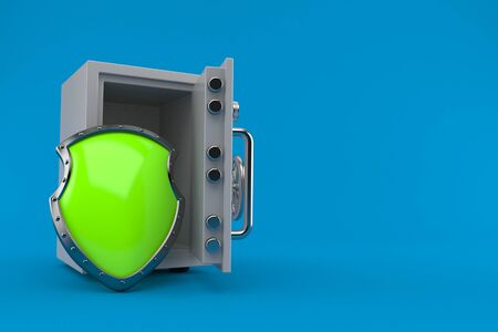 Protective shield with open safe isolated on blue background. 3d illustration