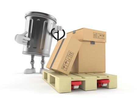 Trash can character with hand pallet truck with cardboard boxes isolated on white background. 3d illustration