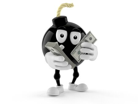 Bomb character counting money isolated on white background. 3d illustration Zdjęcie Seryjne