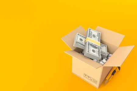 Dollar currency inside package isolated on orange background. 3d illustration Zdjęcie Seryjne