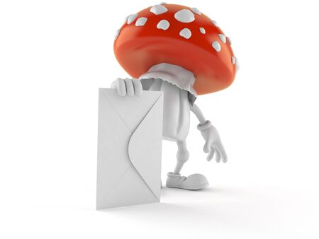 Toadstool character with envelope isolated on white background. 3d illustration Reklamní fotografie