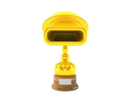 Muffler golden trophy isolated on white background. 3d illustration