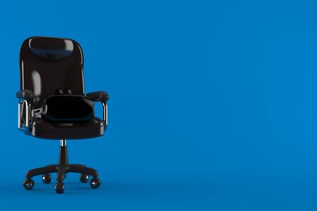 VR headset on business chair isolated on blue background. 3d illustration