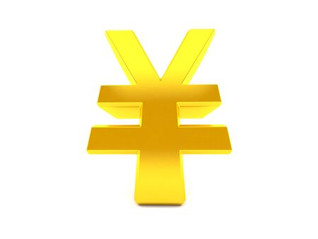 Yen currency in low angle isolated on white background. 3d illustration