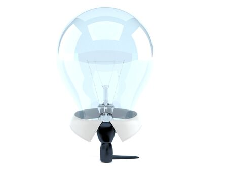 Business collar with light bulb isolated on white background. 3d illustration
