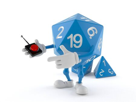 RPG dice character pushing button on white background. 3d illustration