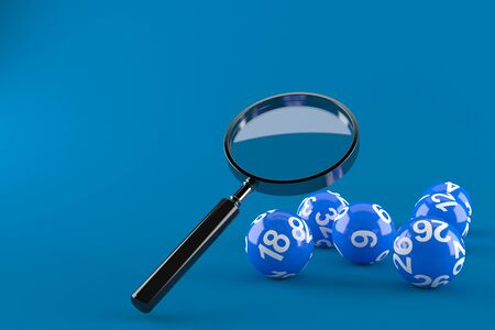 Magnifying glass with lottery balls isolated on blue background. 3d illustration Imagens