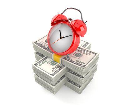 Alarm clock on stack of money isolated on white background. 3d illustration