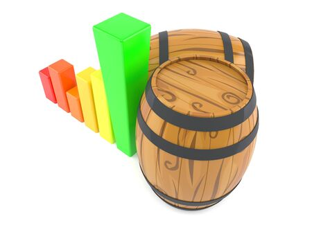 Casks with chart isolated on white background. 3d illustration