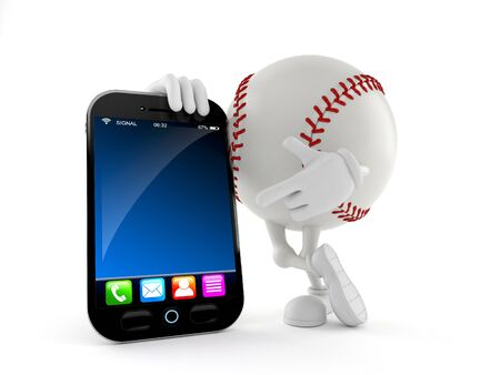 Baseball character with smartphone isolated on white background. 3d illustration