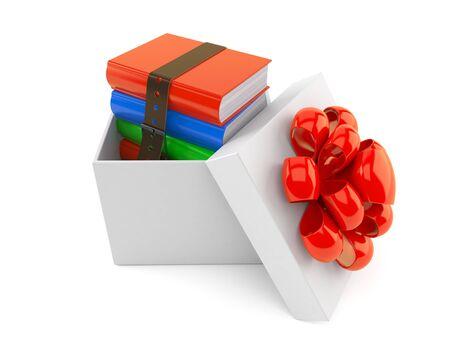 Books inside gift isolated on white background. 3d illustration