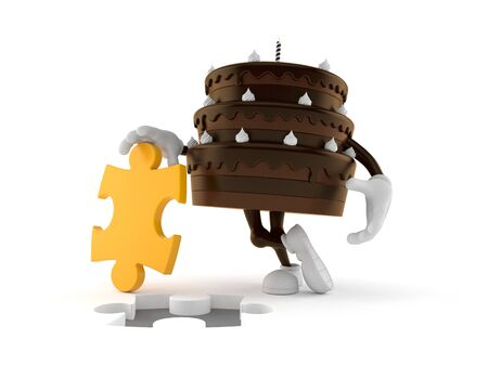 Cake character with jigsaw puzzle isolated on white background. 3d illustration