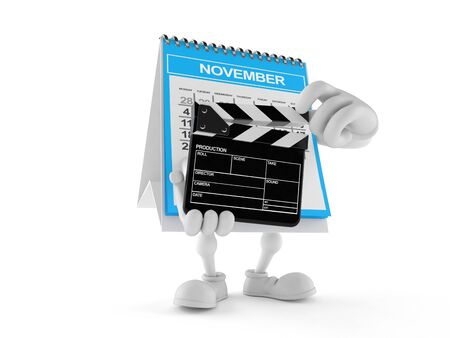 Calendar character holding clapboard isolated on white background. 3d illustration