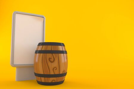 Wine cask with blank billboard isolated on orange background. 3d illustration