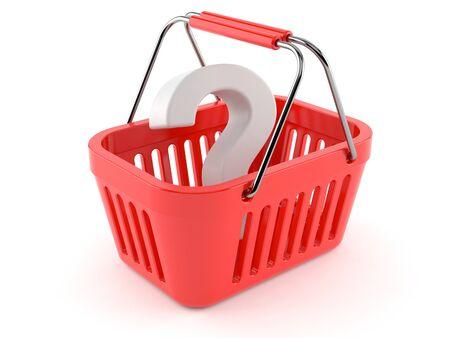 Question mark inside shopping basket isolated on white background. 3d illustration